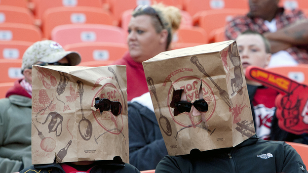 There were a lot of empty seats at Sunday's Kansas City Chiefs game (which the team lost, to Cincinnati, 28-6). And some fans showed their unhappiness by wearing bags over their heads.