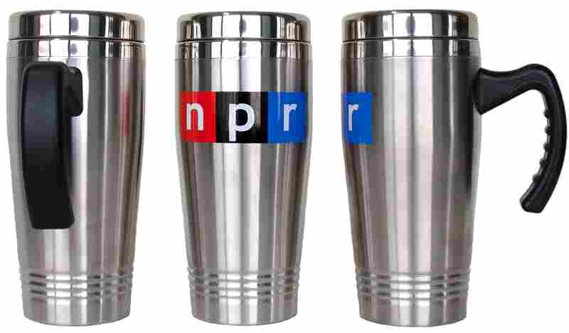 NPR Travel Mug: This dynamic, 17 oz. double-walled, 18/8 stainless steel travel mug, imprinted with the NPR logo, is designed to keep up with you as you travel your world. The mug features a contoured handle with relaxed grip and a secure-fit, engineered gasket lid with open-close slide mechanism.