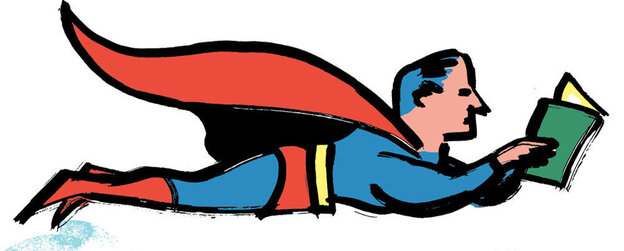 Illustration: a superhero flies while reading a book.