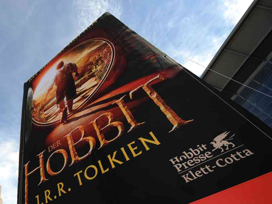 A promotion for J.R.R. Tolkien's classic, which is now being made into a movie trilogy, at the Frankfurt Book Fair last month.