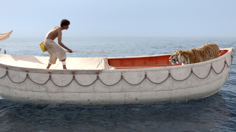 Pi Patel (Suraj Sharma) is lost at sea with a fierce Bengal tiger, Richard Parker. (Twentieth Century Fox)
