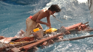 As a teenager, Pi (the younger version played here by Suraj Sharma) is lost at sea with a Bengal tiger.