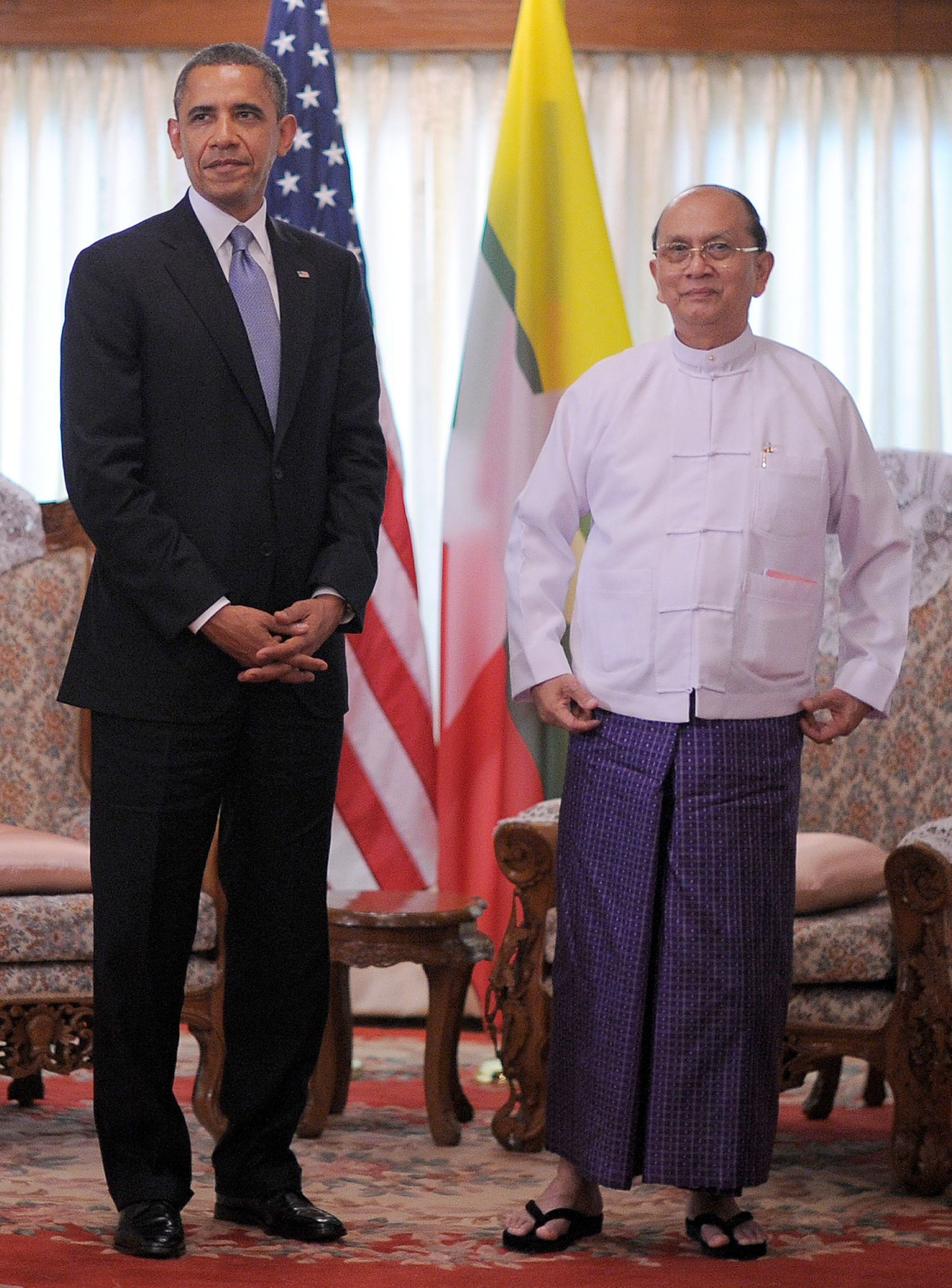 President And Thein Sein Of Myanmar Also Known As Burma Earlier Today In Yangon Image Jewel Samad Afp Getty Images