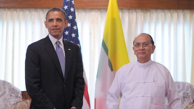 President Obama and President Thein Sein of Myanmar (also known as Burma) earlier today in Yangon. (AFP/Getty Images)