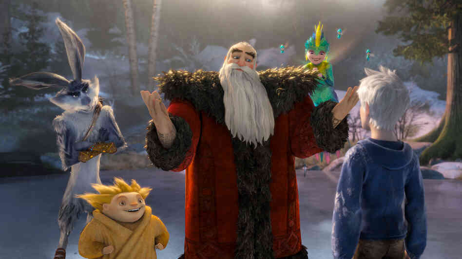 Bunnymund (Hugh Jackman), Sandman, North (Alec Baldwin) and Tooth (Isla Fisher) welcome Jack Frost (Chris Pine) to a group of mythical characters sworn to protect the world's children.