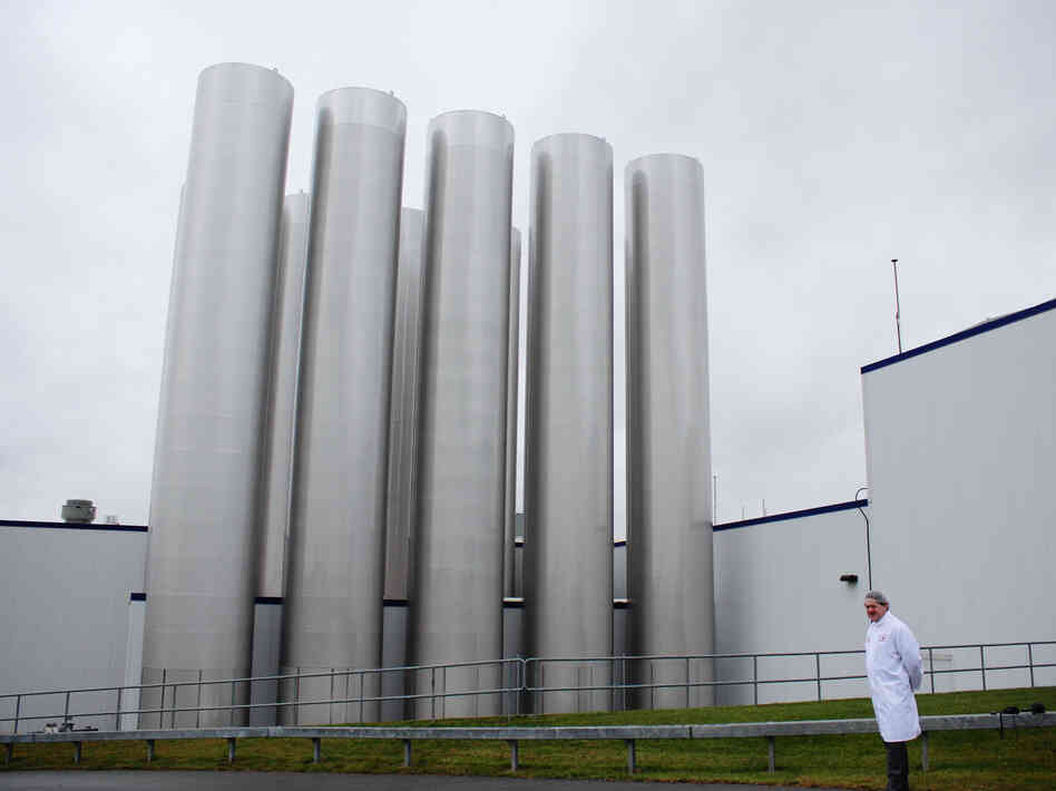 Most of the gleaming steel tanks outside Fage's yogurt factory hold milk. One, however, holds the yogurt byproduct wh