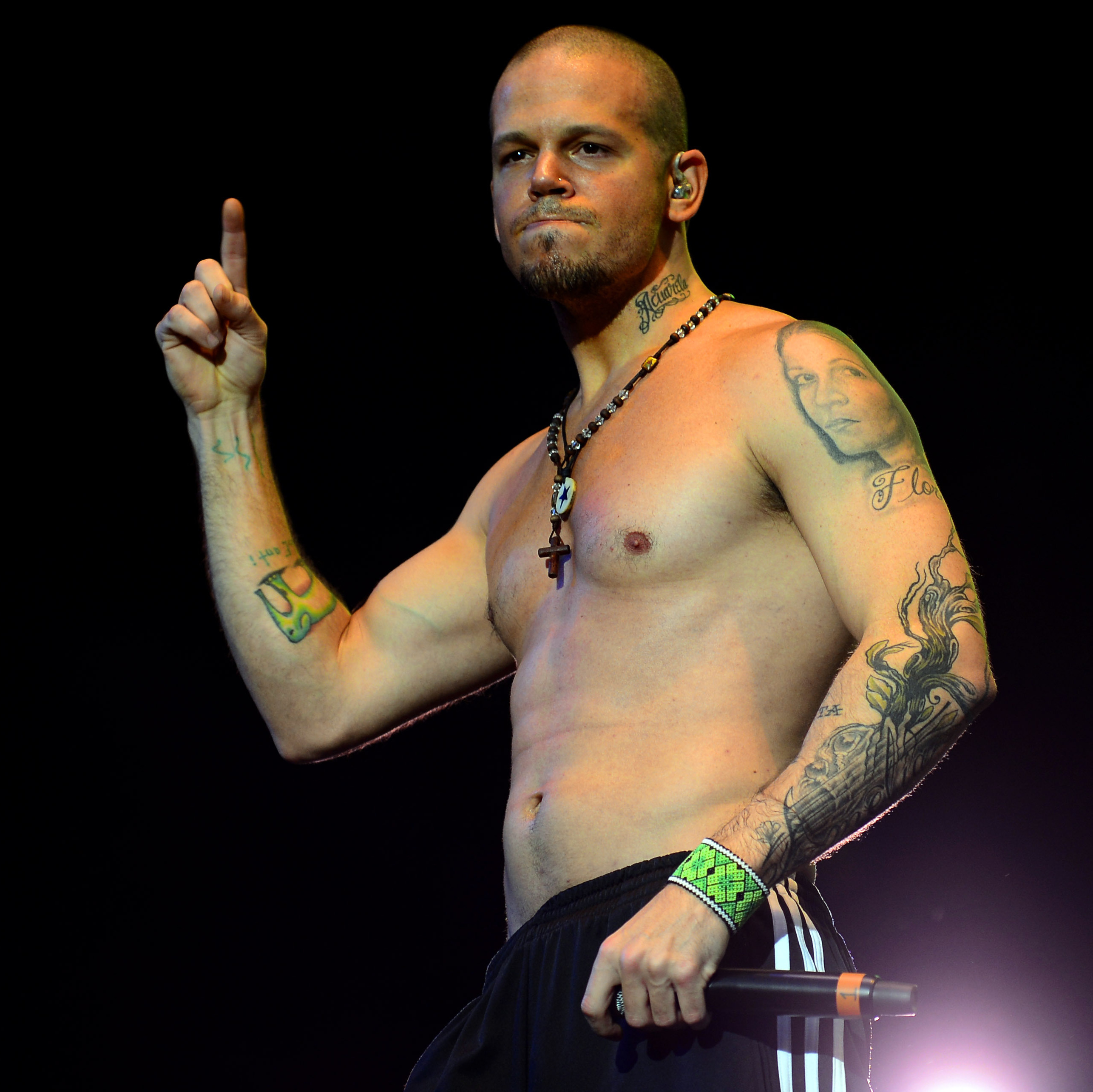 Puerto Rican singer Rene of Calle 13 performs during the Wirikuta Fest at the Foro Sol in Mexico City May 26.