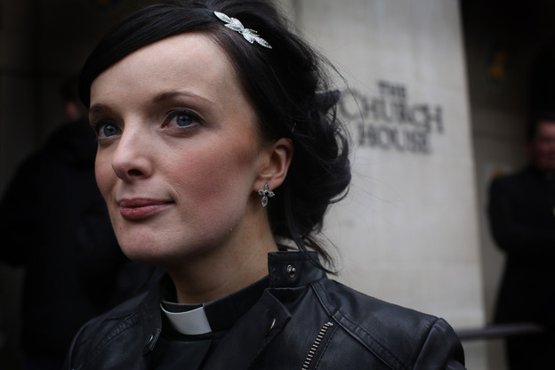 Rev. Sally Hitchiner stands outside Church House during a lunch break on Tuesday.