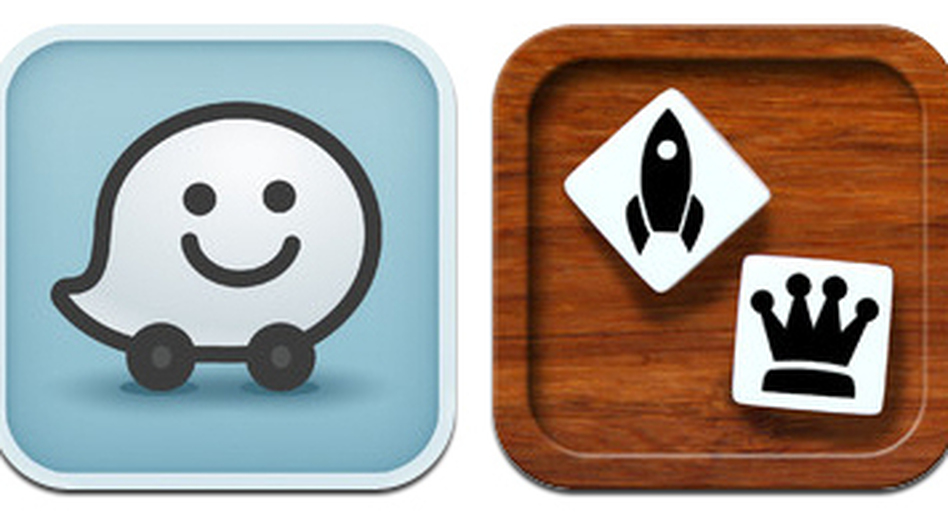 Apps that can keep kids entertained during long road trips include (from left) Waze, Story Dice, Mobbles, Cobypic, and Postcard on the Run.