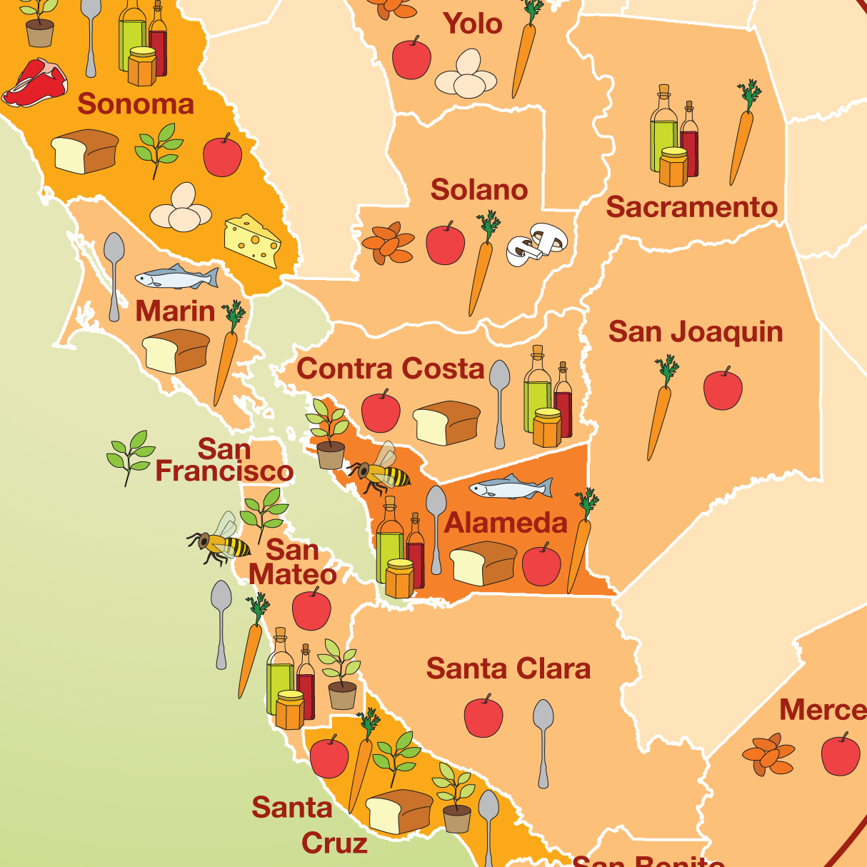 A detail of a map from Food: An Atlas that shows sources of food found at farmer's markets in Berkeley, California.