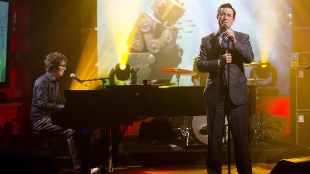 Stephen Colbert (right) performs with Ben Folds on the set of his TV show, The Colbert Report. (Kris Long)