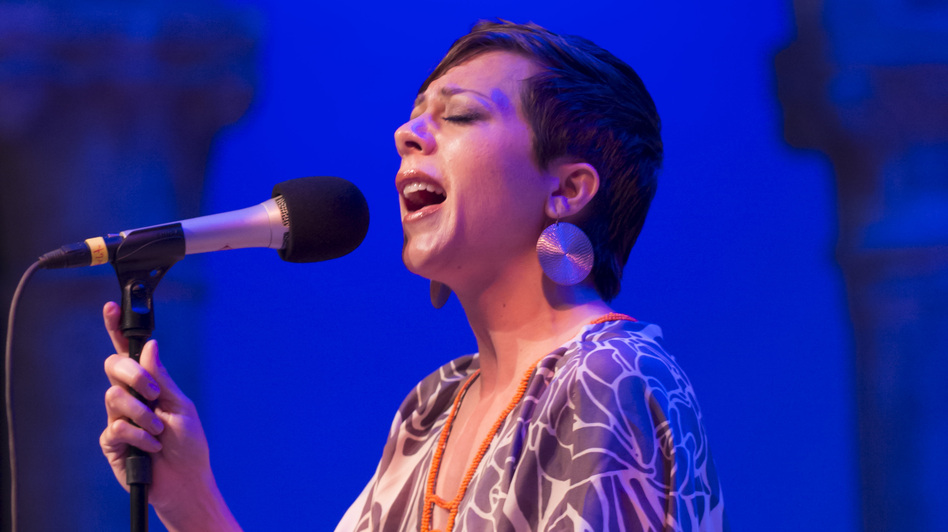 Gretchen Parlato performing at the Caramoor Jazz Festival in Katonah, N.Y. July 28. (Courtesy of the Caramoor Festival)