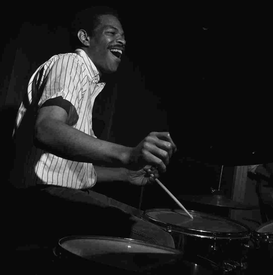 Drummer Pete La Roca plays during the May 19, 1965 recording session for his album Basra.