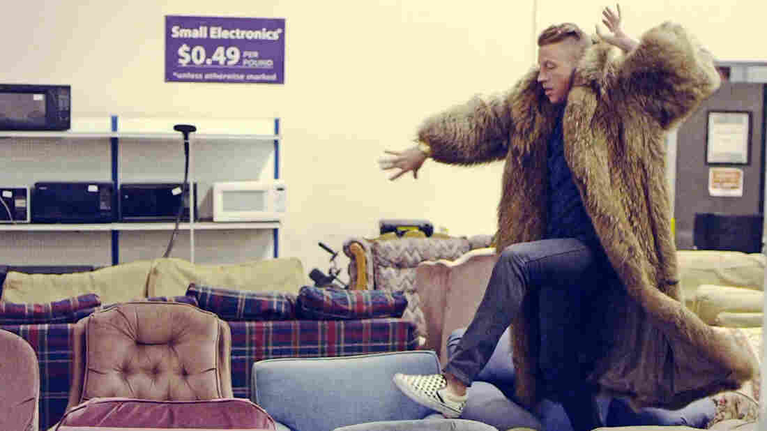 """A still from the video for """"Thrift Shop"""" by Macklemore & Ryan Lewis."""