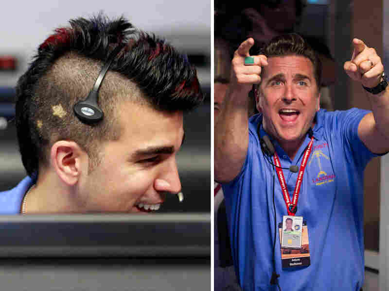 "Missions engineers Bobak Ferdowsi (left) and Adam Steltzner — also known as ""Mokawk guy"" and ""Elvis guy,"" respectively — helped land the Mars Curiosity rover on Sunday night."