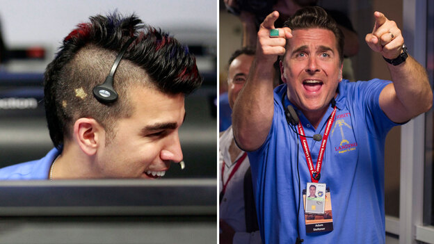 "Missions engineers Bobak Ferdowsi (left) and Adam Steltzner — also known as ""Mokawk guy"" and ""Elvis guy,"" respectively — helped land the Mars Curiosity rover on Sunday night. (Right: Bill Ingalls/NASA via Getty Images)"