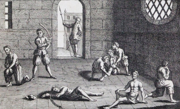 "This copper engraving from approximately 1700 depicts the condition of the English prisoners at the hands of the Dutch. In the 1660s, Cornell University's Eric Tagliacozzo says, the conflict and competition for the spice trade came to a head. ""The Dutch decapitated a number of English merchants who were also in the Spice Islands trying to profit from the trade."""