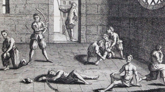 """This copper engraving from approximately 1700 depicts the condition of the English prisoners at the hands of the Dutch. In the 1660s, Cornell University's Eric Tagliacozzo says, the conflict and competition for the spice trade came to a head. """"The Dutch decapitated a number of English merchants who were also in the Spice Islands trying to profit from the trade."""" (WikiCommons)"""