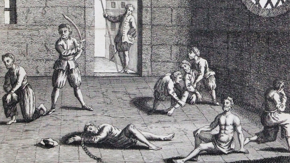 "This copper engraving from approximately 1700 depicts the condition of the English prisoners at the hands of the Dutch. In the 1660s, Cornell University's Eric Tagliacozzo says, the conflict and competition for the spice trade came to a head. ""The Dutch decapitated a number of English merchants who were also in the Spice Islands trying to profit from the trade."" (WikiCommons)"