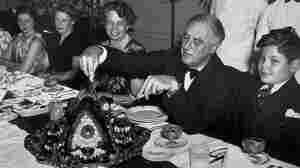 President Roosevelt celebrating Thanksgiving with polio patients at the Warm Springs Foundation for Infantile Paralysis Sufferers the Friday after the national holiday in 1938.