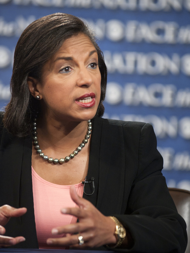 Susan Rice, U.S. ambassador to the U.N., speaks on CBS' <em>Face the Nation</em> on Sept. 16. Her comments on this and other shows that Sunday on the deadly Benghazi attack have been criticized.
