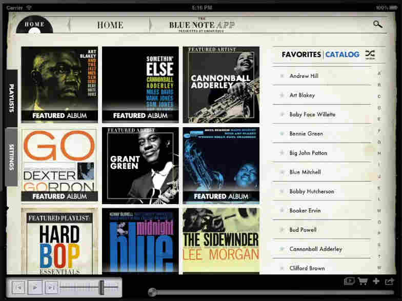 The Blue Note app for iPad.