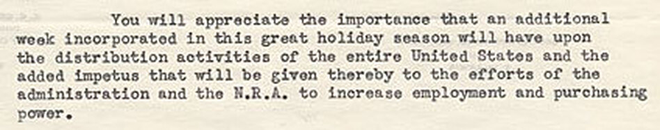 A snippet of a 1933 letter from the Downtown Association of Los Angeles asking President Roosevelt to push back Thanksgiving by a week. (Franklin D. Roosevelt Library and Museum)