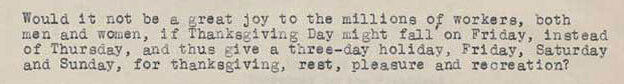 Snippet of a letter F.B. Haviland sent to President Hoover in 1929 asking him to move Thanksgiving to Friday. (National Archives)