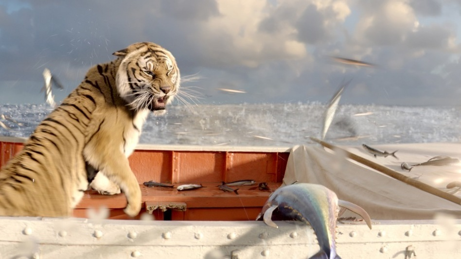 As if being lost at sea isn't daunting for a teenager, Pi's companion on his lifeboat is a Bengal tiger. Life of Pi is based on Yann Martel's 2001 Man Booker Prize-winning novel. (20th Century Fox)