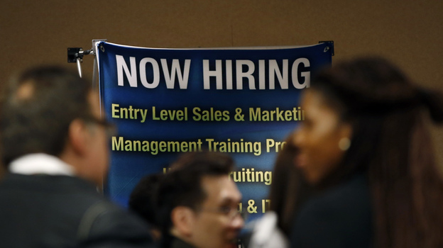 The scene at a career fair last month in New York City.