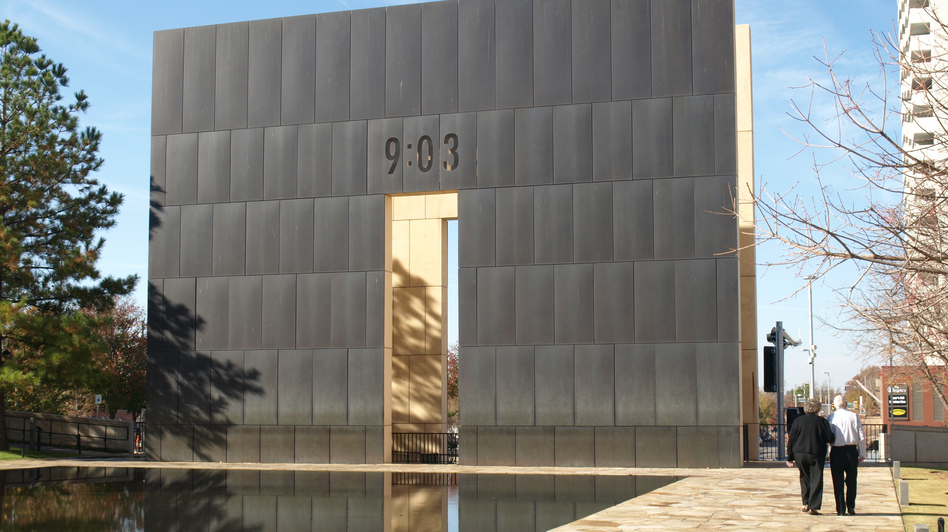 The Oklahoma City National Memorial sits on the site of the 1995 bombing. Some affected by the blast say they've been denied help from an assistance fund, even as millions of fund dollars remain unspent. (Kurt Gwartney for NPR)