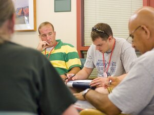 Veterans participate in a therapy session at the Veterans Affairs center in Menlo Park, Calif.