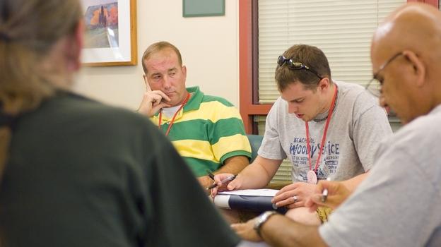 Veterans participate in a therapy session at the Veterans Affairs center in Menlo Park, Calif. (VA Palo Alto Health Care System)