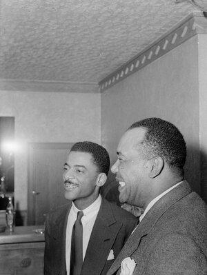 Teddy Wilson (center) and drummer Zutty Singleton in 1940.