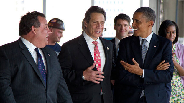 President Obama, New York Gov. Andrew Cuomo (center) and New Jersey Gov. Chris Christie visit the Port Authority of New York and New Jersey's World Trade Center site for a briefing on construction progress in June. The Republican Christie and Democrat Cuomo will have to find consensus on the plan for rebuilding after Superstorm Sandy, together and with a divided Congress.