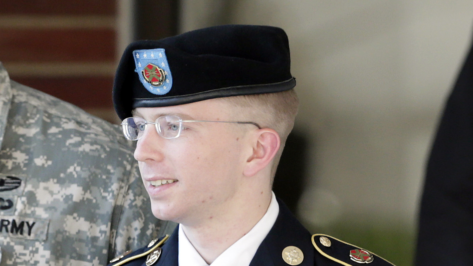 Army Pfc. Bradley Manning is escorted out of a courthouse in Fort Meade, Md., after a pretrial hearing in June. Manning is charged with aiding the enemy by giving hundreds of thousands of classified diplomatic cables and war logs to the secret-sharing website WikiLeaks. (AP)