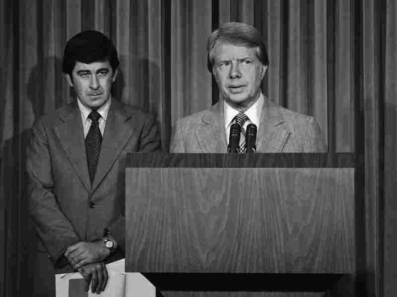 President Carter and health adviser Peter Bourne talk to reporters at the White House  about Carter's drug abuse message to Congress in 1977. Among other things, he called for the elimination of all federal criminal penalties for the possession of up to 1 ounce of marijuana.