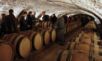 Guests attend a wine tasting in the cellar of Hotel Dieu before the wine auction.