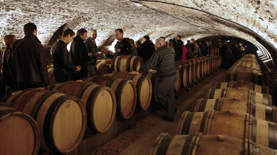 Guests attend a wine tasting in the cellar of Hotel Dieu before the wine auction. (Reuters /Landov)