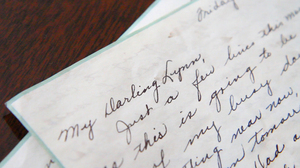 A letter from 1947 written by Dorothy Fallon to Lynn Farnham washed up on the shore in Atlantic Highlands, N.J., after Hurricane Sandy. (Lindsay Lazarski/WHYY)