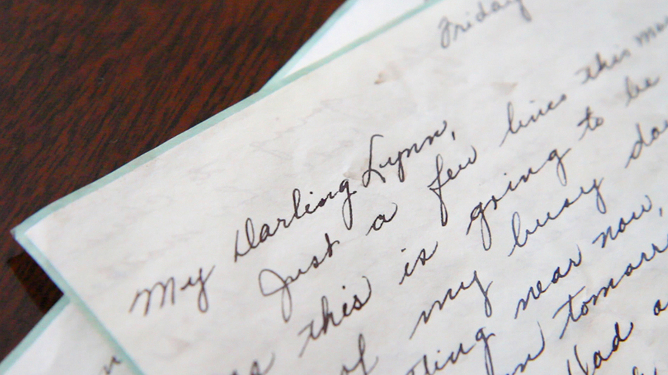 A letter from 1947 written by Dorothy Fallon to Lynn Farnham washed up on the shore in Atlantic Highlands, N.J., after Hurricane Sandy. (Lindsay Lazarski/WHYY) (Newsworks.org)