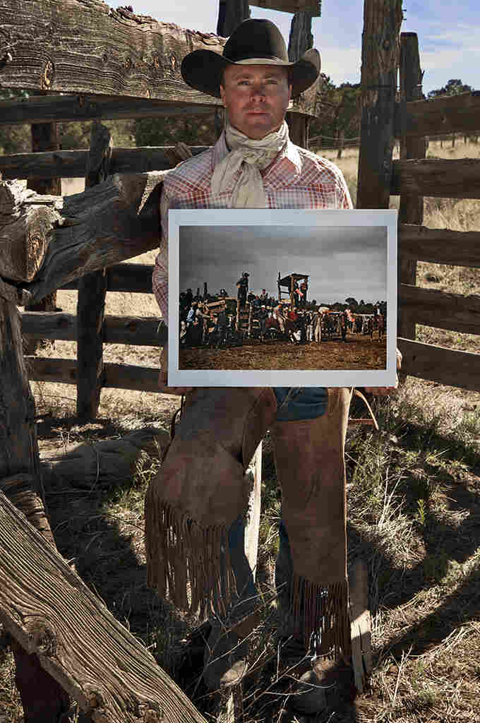 Ace McPhaul, rancher, at old rodeo corral