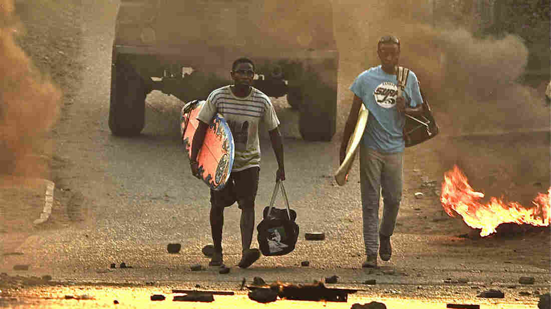 Otelo (Jafta Mamabolo, right) and his best friend, New Year (Thomas Gumede), grow up in South Africa during the violent years toward the end of apartheid.