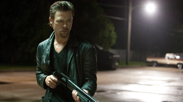 Brad Pitt's Jackie Cogan is a midlevel mob enforcer in Killing Them Softly, adapted by Andrew Dominik from the 1974 novel Cogan's Trade.