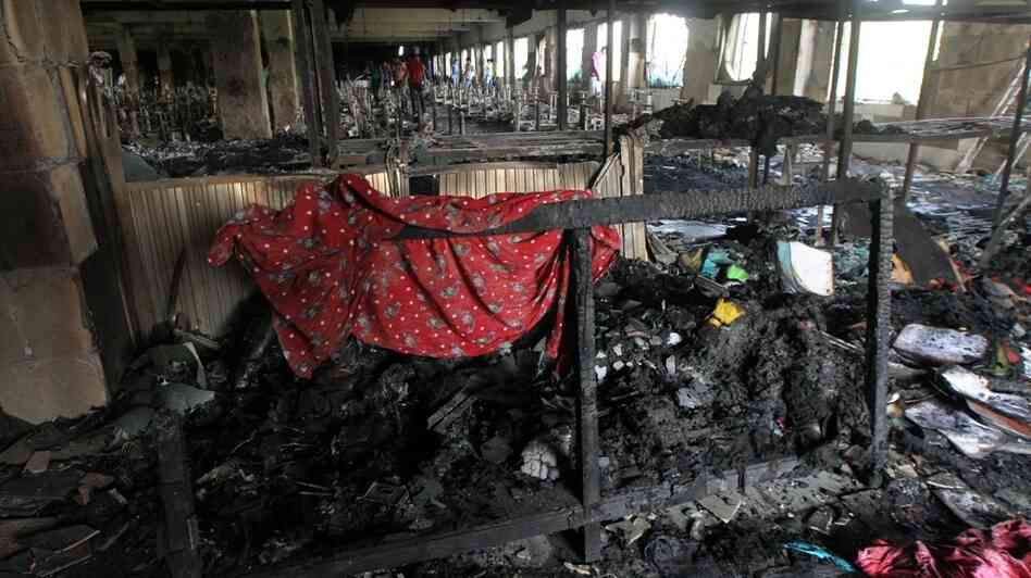 Inside the factory in Dhaka, Bangladesh, after the blaze.
