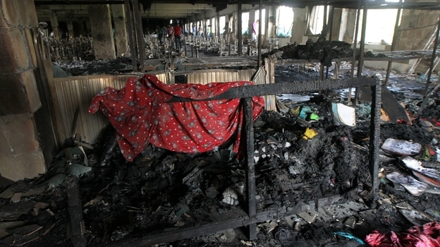 Inside the factory in Dhaka, Bangladesh, after the blaze. (AFP/Getty Images)