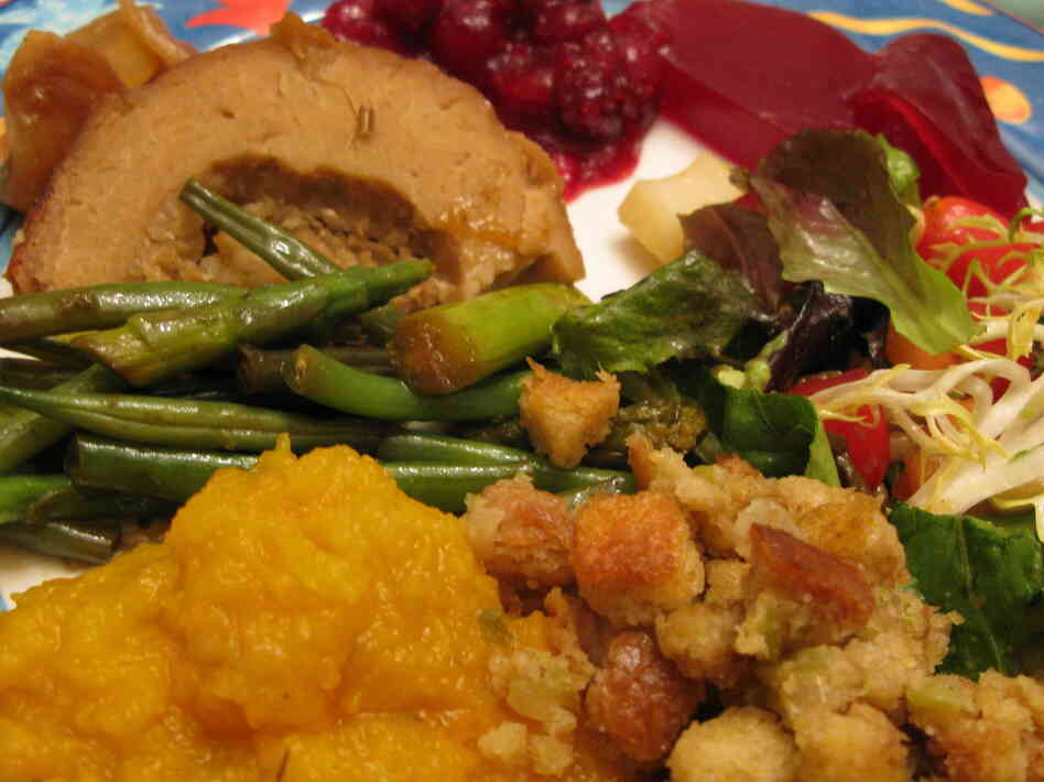 A vegan Thanksgiving feast, featuring Tofurky