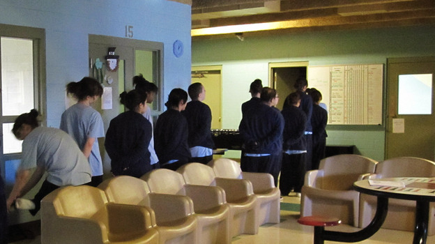 Girls line up at the Bernalillo County Juvenile Detention and Youth Services Center in Albuquerque, N.M. (NPR)