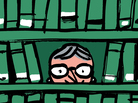 Illustration: Nancy Pearl peering through bookshelves.