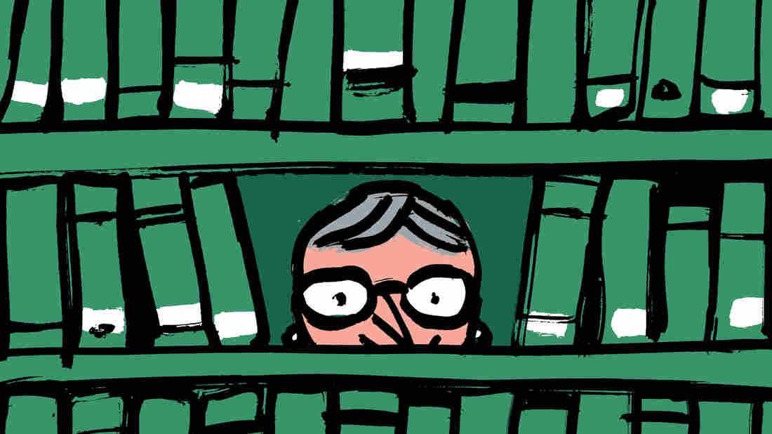 Illustration: Nancy Pearl peering through bookshelves.